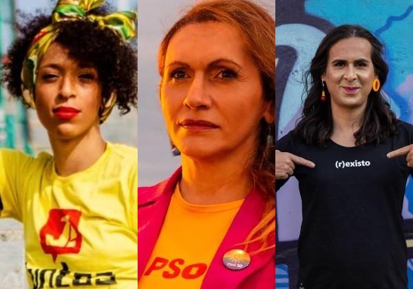 Da esq. para a dir.: Erika Hilton (PSOL), Linda Brasil (PSOL) e Duda Salabert (PDT) (Foto: Reprodução/Instagram/Arquivo Pessoal)