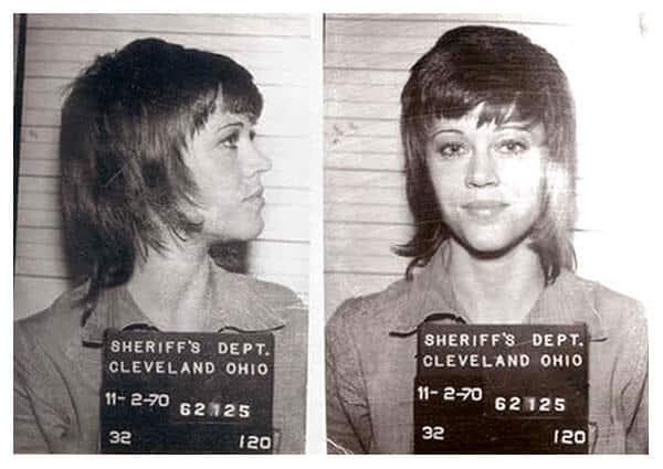 Jane Fonda detida em protesto pelo meio ambiente em 1970 Foto: Reprodução