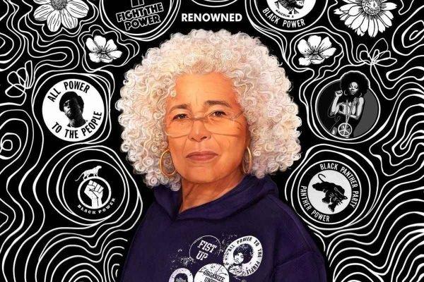 A colaboração histórica de Angela Davis com a marca Renowned rendeu uma coleção-cápsula beneficente, composta por moletom e camiseta - Foto: Divulgação