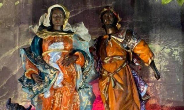 Presépio temático sobre o combate ao racismo na Paróquia do Sagrado Coração de Jesus, na Glória, Zona Sul do Rio Foto: Divulgação